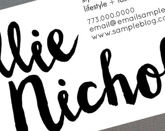 Typography Business Card with bold Cheerful Script, Set of 50
