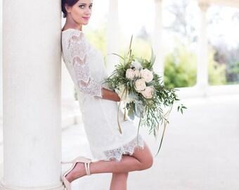 Lace Wedding Dress, Short Wedding Dress, Engagement Dress, Rehearsal Dinner, Cotton Lace, Eyelash, reception dress, Bridesmaid dress