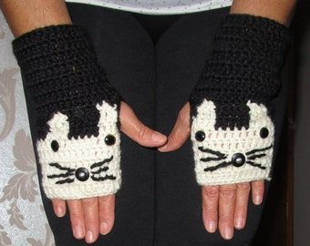 Cat Gloves,Cat Fingerless Gloves,All Sizes,Cat Hand Warmer,Cream Gloves,Xmas Gift Idea,Winter Gift,Gift For Her,Animals,Cat Lovers