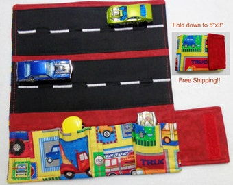 Truck Stop Patchwork Print Car Wallet/ Car roll up/Toy car holder/ Free Shipping/ Ready to ship.
