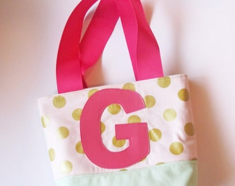 Personalized Little Girl Purse in Metallic Peach and Mint and Hot Pink Straps and Flower