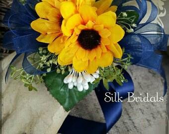Sunflower corsage mini sunflowers wrist corsage navy blue rustic country silk Wedding Bridal flowers mother grandmother prom keepsake