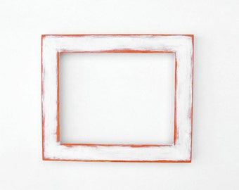 Distressed white frame - 8x10 picture frame, handpainted, white and orange