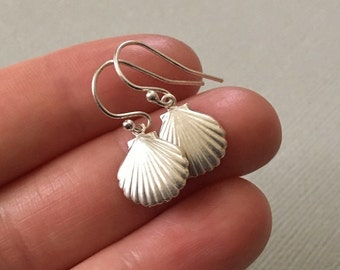 Shell Earrings in Sterling Silver -Silver Shell Earrings -Beach Earrings