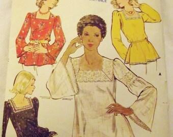 Vintage Sewing Pattern, Retro 60s Blouse, Butterick 4507, Hippie, Peasant, Boho Blouse, Size 12 Bust 34