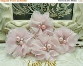 ON SALE 4 Pcs Audrey Dainty Light Pink Soft Chiffon W/ Pearls And Rhinestones Mesh Layered Small Fabric Flowers / Hair accessories / Chiffon