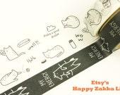 Cat & Fox - Black and White Box Series - Japanese Washi Masking Tape Set - 2 rolls - 5.5 Yard (each roll)