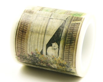 Cat window - Japanese Washi Masking Tape - 40mm wide - 5.5 yards
