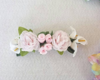 Exclusive design. Roses, Calla Lilies Flowers hair bow. Bridal Accessories.