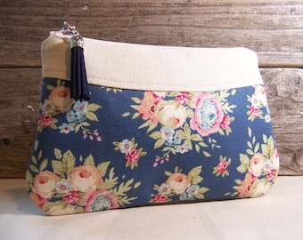 Clutch or Cosmetic bag in a blue shabby chic fabric with tassel and waterproof washable lining - Make up bag or custom bag for wedding.