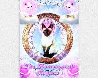 "The Homosexual Regime 8"" x 10"" Space Cat Print - LGBT Rainbow Cats Kitten Pastel Kawaii Gay Pride Space Cat Laser Cat"