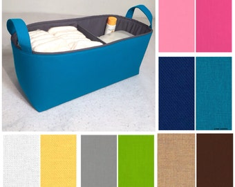 """Customize Long Diaper Caddy with One Divider 16""""x6""""x7"""", Fabric Storage Bin, Basket You Choose Solid Colors"""