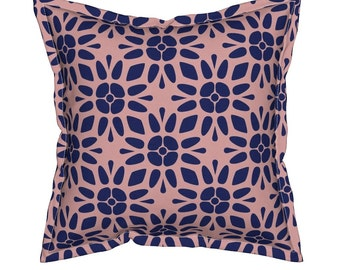 Blue Floral Pillow, Geometric Throw Pillows, Decorative Pillows, Unique Throw Pillow, Geometric Cushion, Floral Throw Pillow, Toss Pillow