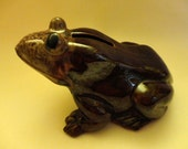 """VINTAGE Frog Coin Bank 1950s/60s - Brown glazed (red clay) pottery, bug eyes, mottled shades of Tan on head, made by """"Kenmar - Japan"""""""