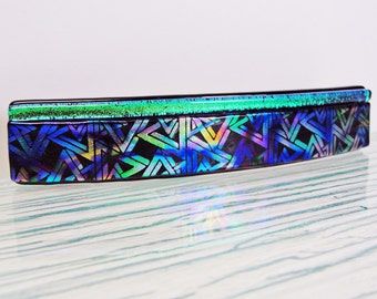 Large Dichroic Fused Glass Barrette Ponytail Hair Barrette Colorful Etched Barrette Dichroic Jewelry Clip Gifts for Her Under 30 Dollars
