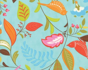 Colorful Bird and Leaf Fabric in Blue - Wing & Leaf by Gina Martin from Moda - Fat Quarter