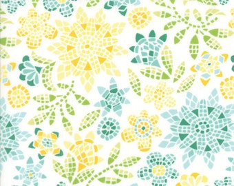 Teal and Yellow Floral Mosaic Fabric - Grand Canal from Kate Spain by Moda 1/2 Yard