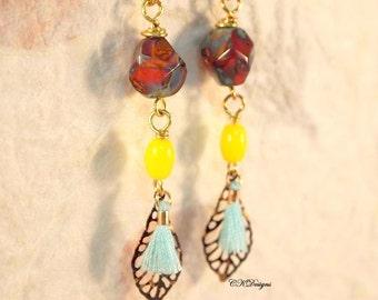 Czech Bead Earrings, Tassel Dangle Pierced or Clip-on Earrings, Boho Chic Earrings, Vintage Style Beaded Earrings, CKDesigns.US