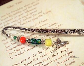 Hummingbird Beaded Bookmark,  Charm Metal Bookmark. Unique Beaded Bookmark, Gift for a Reader, Gift Under 10, OOAK Handmade Bookmark.