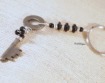 Vintage Key Keyring. Vintage Key, Glass Beads, Beaded Key Chain, Gift for Her,  Handmade Keychain. CKDesigns.US