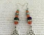 Celtic Triquetra Earrings - OOAK - Made With Carnelian Gemstones, Green Czech Beads, Silver Charms Pagan Triple Goddess Spiritual Jewelry