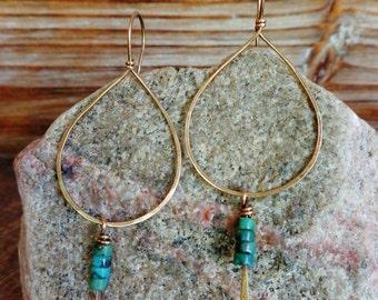 Bare. Hammered Artisan Boho Gold Brass Drop Earrings with Heishi Turquoise Jasper Dangles. Boho Gypsy Southwestern Native American Indian