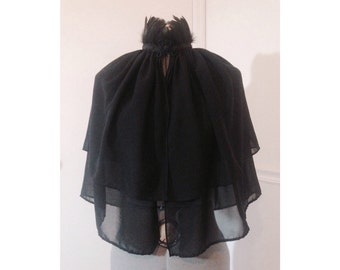 Black Feather Collar Chiffon Cape
