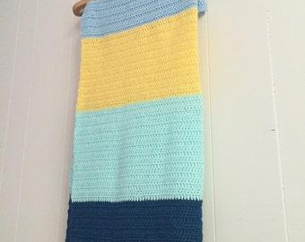 Summer Color Block Crochet Baby Blanket