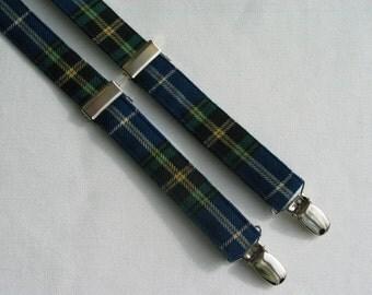 Nova Scotia Tartan Suspenders, NS, Blue White Plaid Tartan Suspenders, Nova Scotia Tartan Man Suspenders, Bluenose Tartan, Boy Tartan Braces