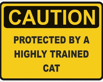 Caution Protected by Cat Warning Sticker for Laptop Book Fridge Guitar Motorcycle Helmet ToolBox Door PC Boat