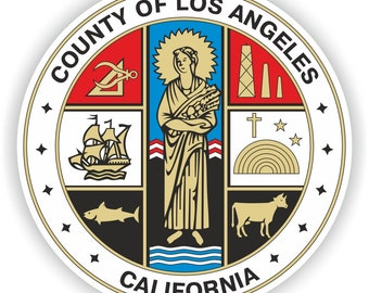 Los Angeles County Seal Sticker Round for Laptop Book Fridge Guitar Motorcycle Helmet ToolBox Door PC Boat