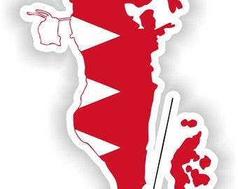 Bahrain Map Flag Silhouette Sticker for Laptop Book Fridge Guitar Motorcycle Helmet ToolBox Door PC Boat