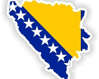 Bosnia and Herzegovina Map Flag Silhouette Sticker for Laptop Book Fridge Guitar Motorcycle Helmet ToolBox Door PC Boat