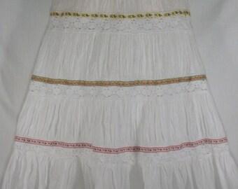 Long White Bohemian Skirt Junk Gypsy Style - GIRLS Medium
