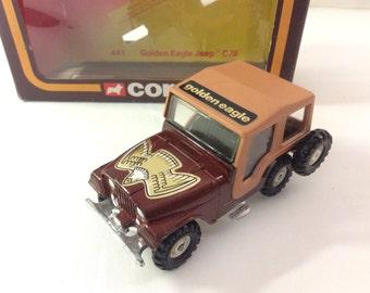 Vintage 1979 Corgi Toys No. 441 Golden Eagle Jeep CJ5.  In Unique European Market Box. 1/36 Scale.