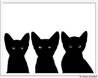 Cat Art Print, Black Kittens Art, Cat Artwork, Black Cats, Cat Silhouette