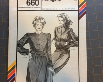 Stretch and Sew 660 Misses Shorty Cardigan Vintage Pattern Ann Person
