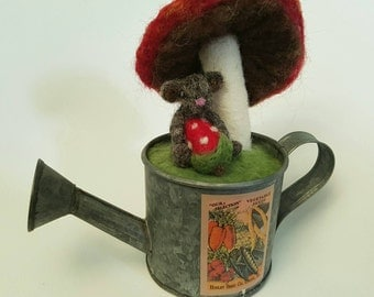 Needle felted mouse with strawberry and mushroom /Tiny world/pin cushion in upcycled container (#17)