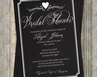 Chalkboard bridal shower invitation, digital, printable