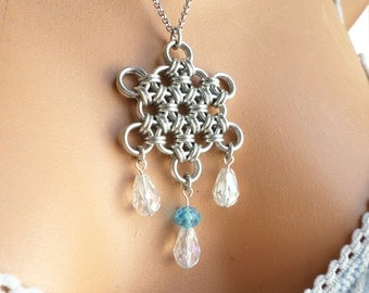 Silver Snowflake Necklace, Chainmail Snowflake Pendant, Crystal Snowflake Charm, Winter Accessories