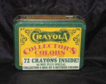 1991 Crayola Crayons Collectors Colors 72 Crayons 8 Retired Colors in Tin NEW Lemon Yellow Raw Umber Violet Blue