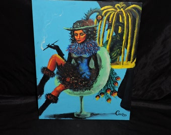 Smoking Peacock Woman by Carrie Original Oil Painting Blue Black Feather Hat Dress Birdcage 14 x 18 inch