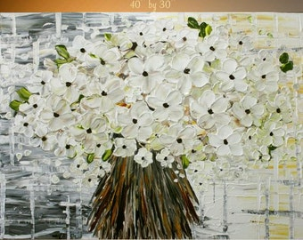 """Abstract ORIGINAL 40"""" x 30""""  gallery wrap canvas-Contemporary impasto  abstract White floral blossom painting by Nicolette Vaughan Horner"""