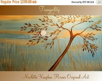 Sale ORIGINAL Large 4ft x 2ft   gallery wrap canvas-Contemporary oil/acrylic  abstract  Landscape Trees  painting by Nicolette Vaughan Horne
