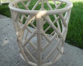 CHIPPENDALE FOR SALE / Lovely Ivory Wrapped Rattan Chinese Chippendale Dining Table Base / Palm Beach Chic / Hollywood Regency