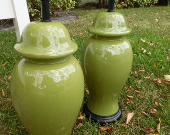 GINGER JAR STARS / Pair Of Tall (24) To The Socket Green Apple Ginger Jar Lamps / Chinoiserie Chic / Palm Beach Chic