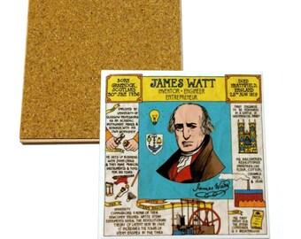 Ceramic coaster - James Watt timeline design (University of Glasgow)