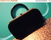 NOW ON SALE Vintage Black Velvet Clutch Purse High End Quality Mid Century Retro Rockabilly Glamour Girl Style Handbag