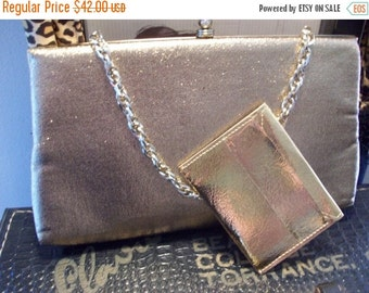 Now On Sale Vintage Gold Lame' Shiny Clutch Retro Collectible Black Tie Formal Purse Glamour Girl Style Handbag Martini Mermaid