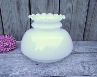 """Antique MILK GLASS Parlor Lamp SHADE - for 7"""" fitter - Ruffled Fluted Top - Fancy MilkGlass Replacement Globe Light Lampshade"""